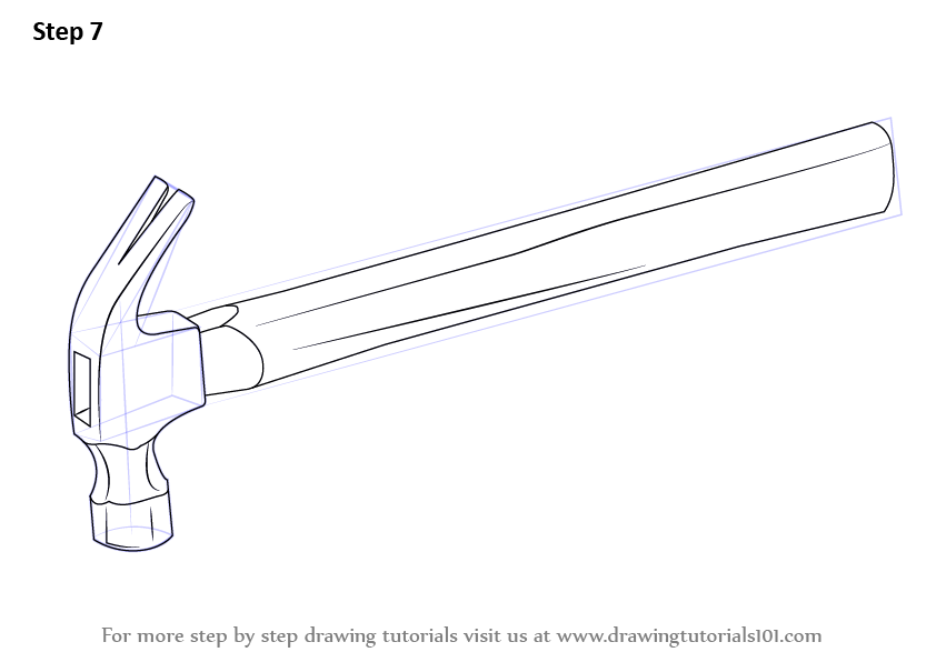 Learn How to Draw a Hammer (Tools) Step by Step : Drawing
