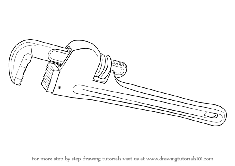 Learn How to Draw pipe Wrench (Tools) Step by Step