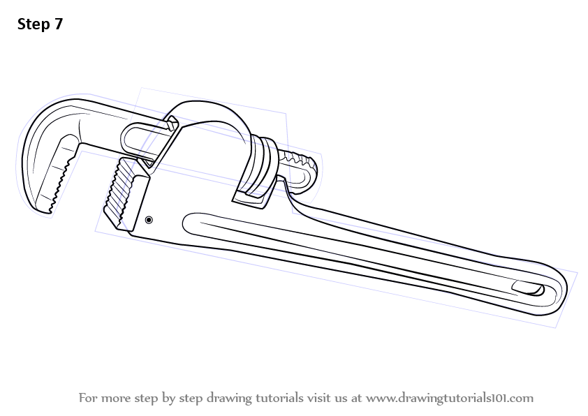 Step by Step How to Draw pipe Wrench : DrawingTutorials101.com