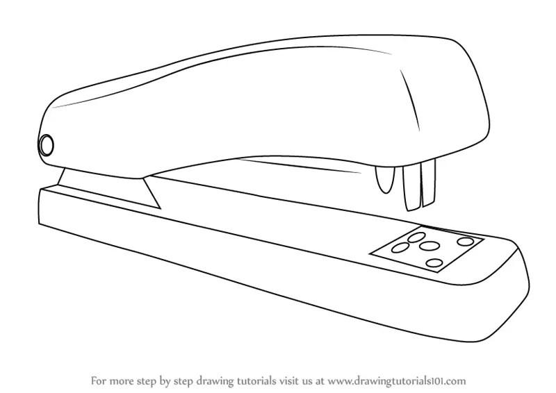 Step by Step How to Draw a Stapler : DrawingTutorials101.com
