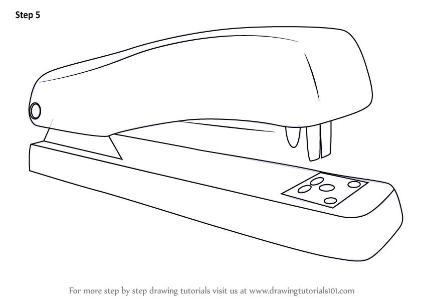 Learn How to Draw a Stapler (Tools) Step by Step : Drawing