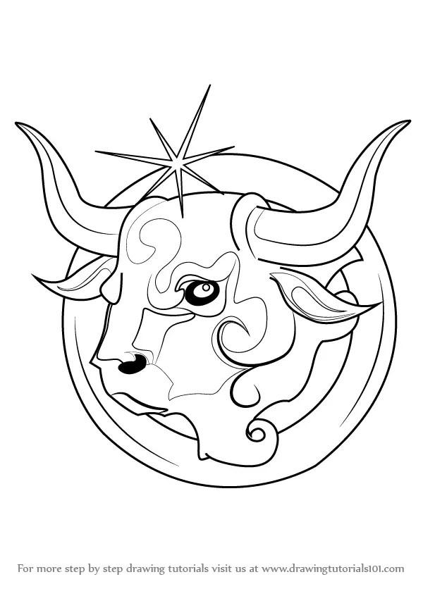 Learn How to Draw Taurus Zodiac Sign (Zodiac Signs) Step