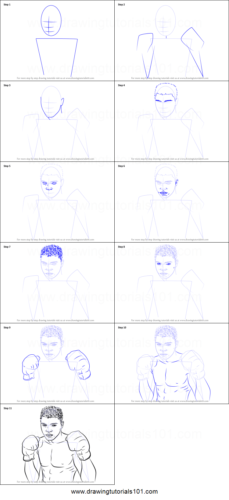 how to draw muhammad ali printable stepstep drawing