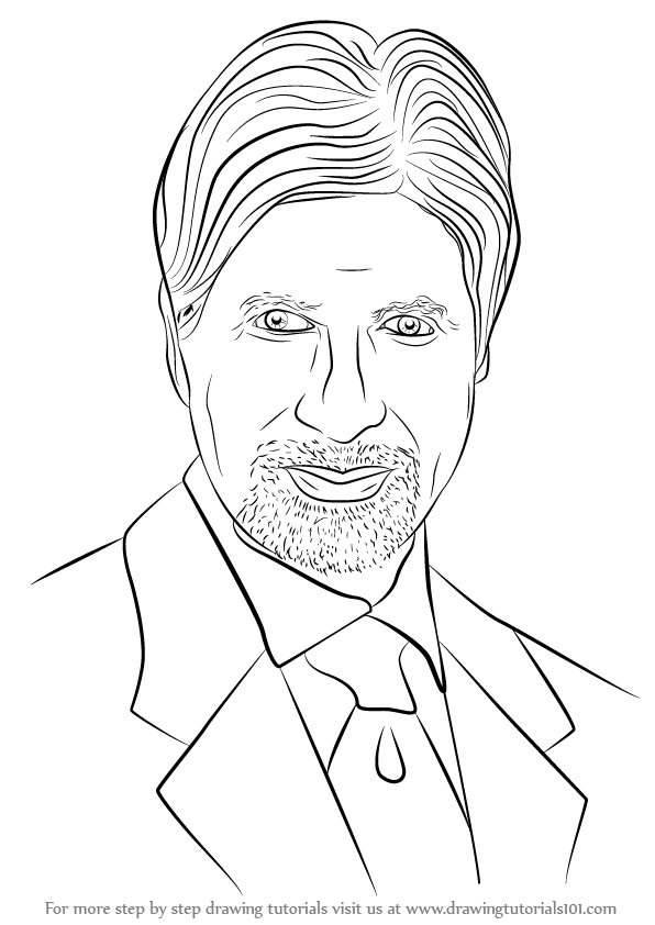 Learn How to Draw Amitabh Bachchan (Celebrities) Step by