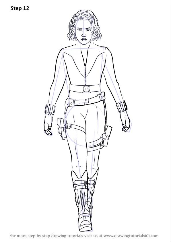 Step by Step How to Draw Natasha Romanoff aka Black Widow