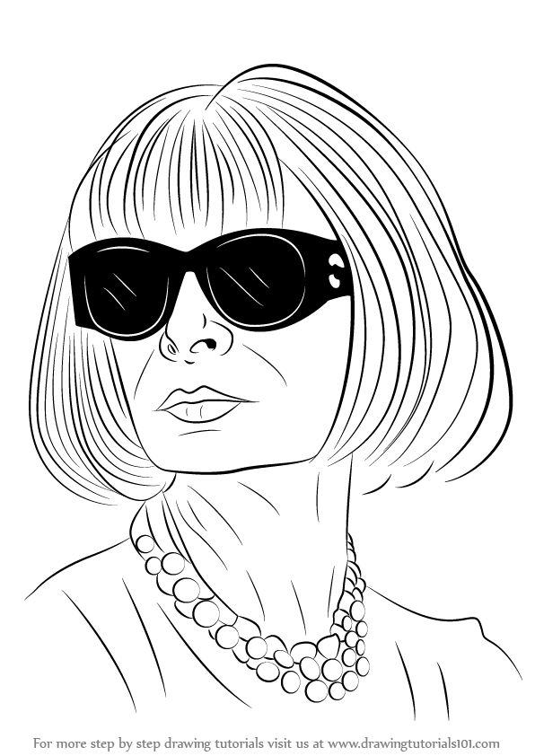 Learn How to Draw Anna Wintour (Famous People) Step by