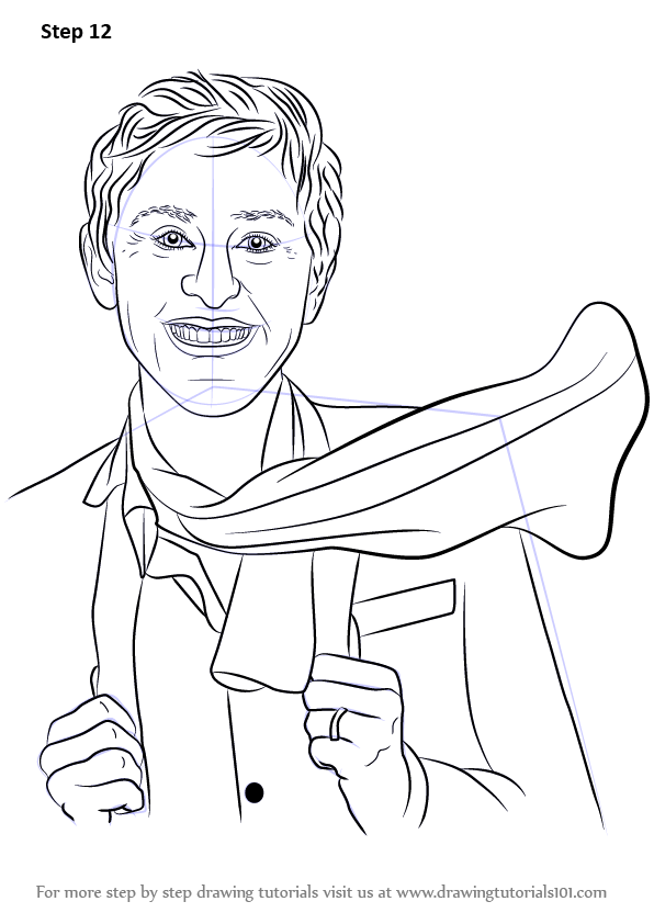 Learn How to Draw Ellen DeGeneres (Famous People) Step by