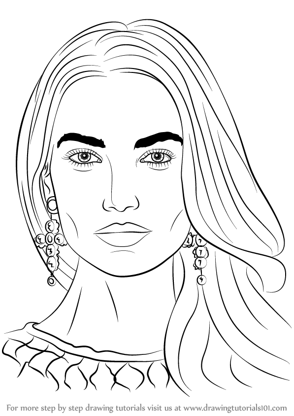 Learn How to Draw Lily Aldridge (Female Models) Step by