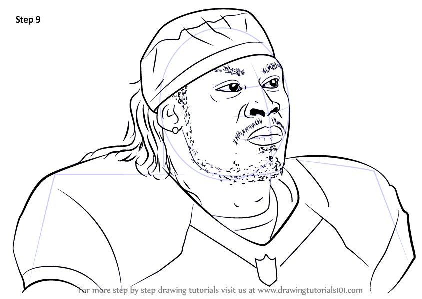 Learn How to Draw Marshawn Lynch (Footballers) Step by