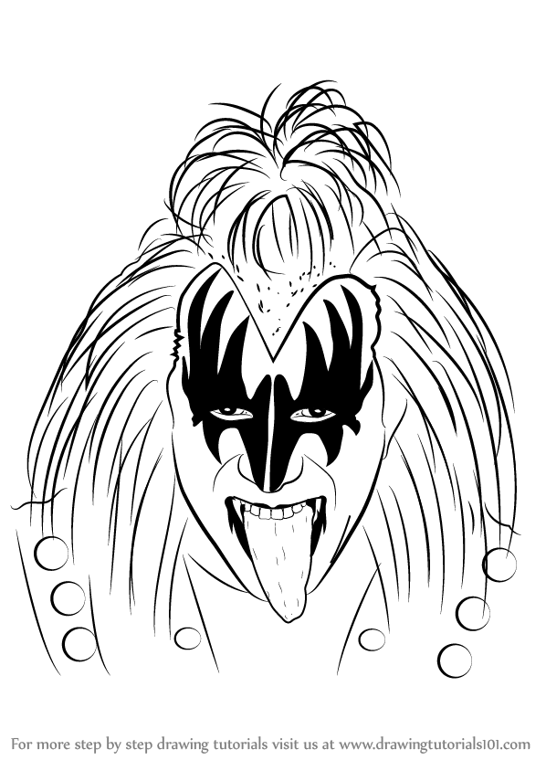Learn How to Draw Gene Simmons (Other Occupations) Step by
