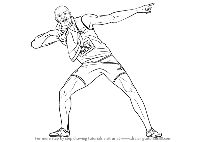 Step by Step How to Draw Usain Bolt : DrawingTutorials101.com