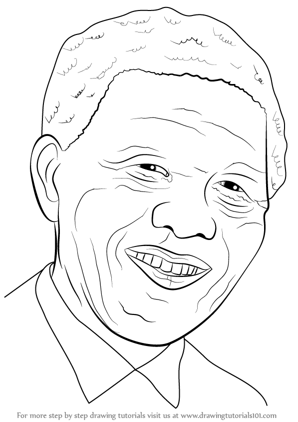 Learn How to Draw Nelson Mandela Face (Politicians) Step