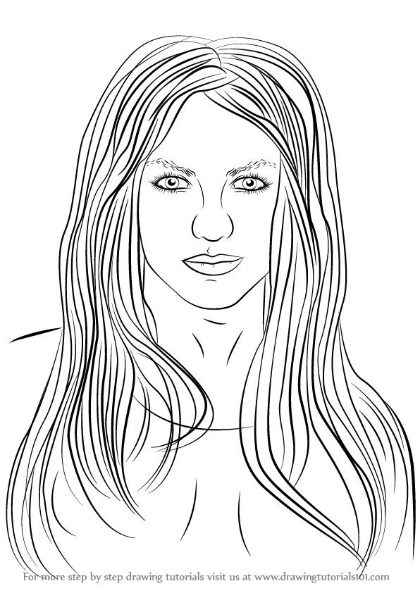 Learn How to Draw Britney Spears (Singers) Step by Step