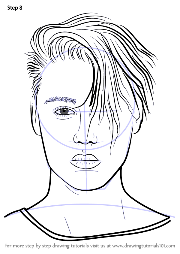 Learn How to Draw Justin Bieber v2 (Singers) Step by Step