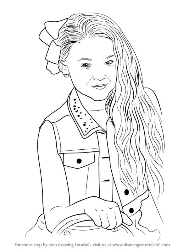Step by Step How to Draw Jojo Siwa : DrawingTutorials101.com