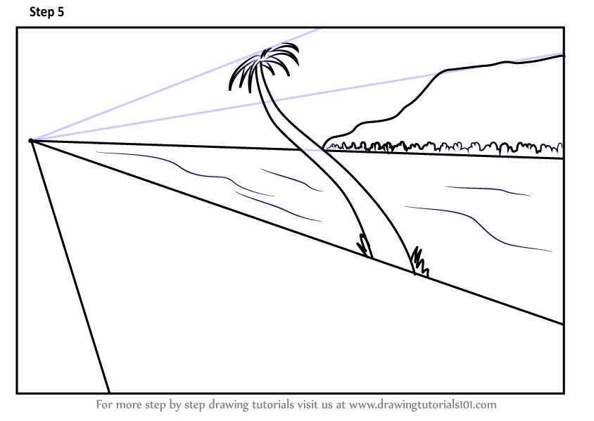Learn How to Draw One Point Perspective Beach One Point