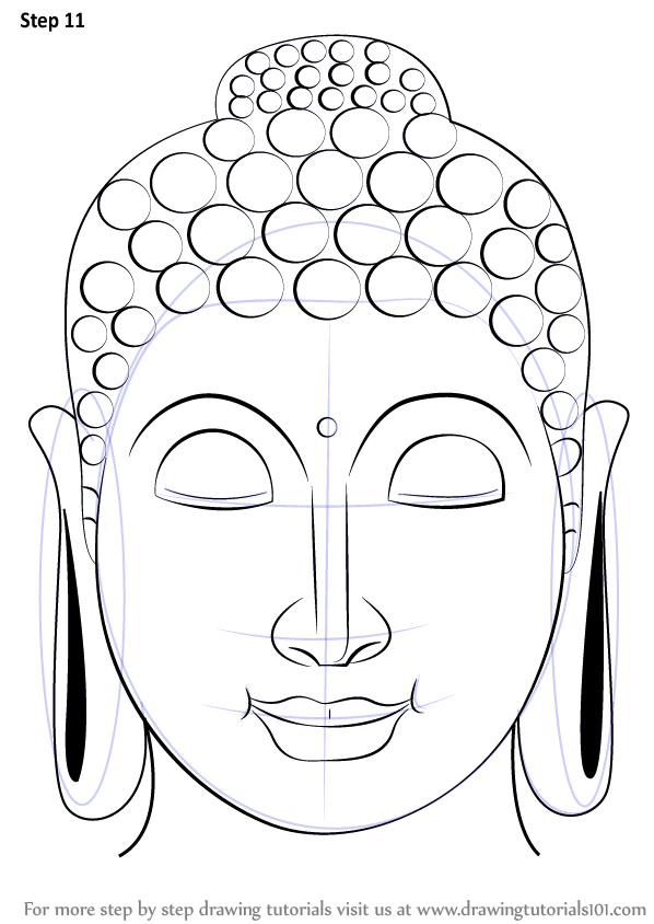 Learn How to Draw Buddha Face (Buddhism) Step by Step