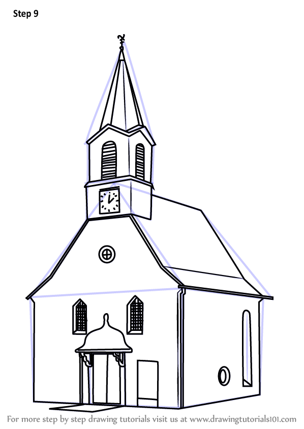 Learn How to Draw a Church Building (Christianity) Step by