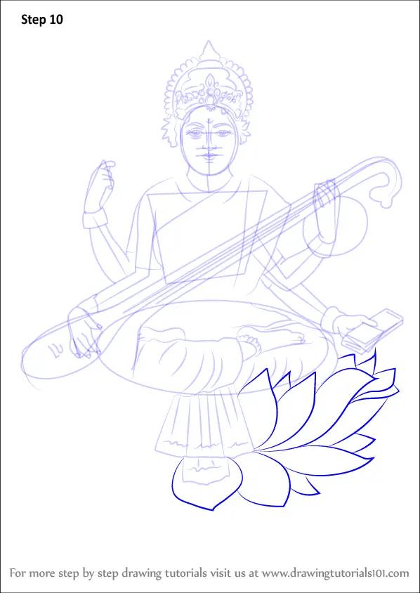 Learn How To Draw Saraswati Hinduism Step By Step