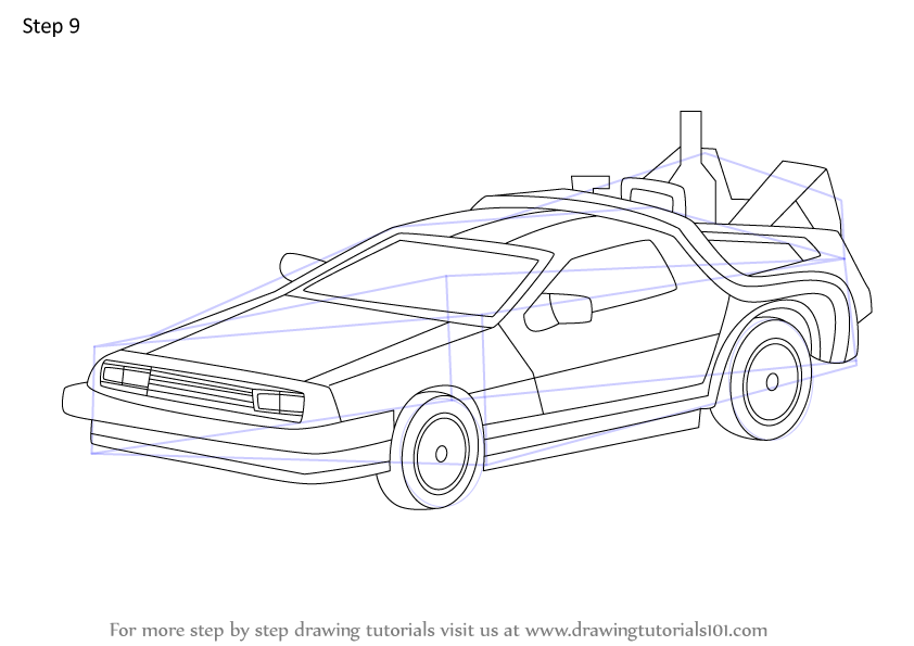 Learn How to Draw DeLorean from Back to the Future (Back