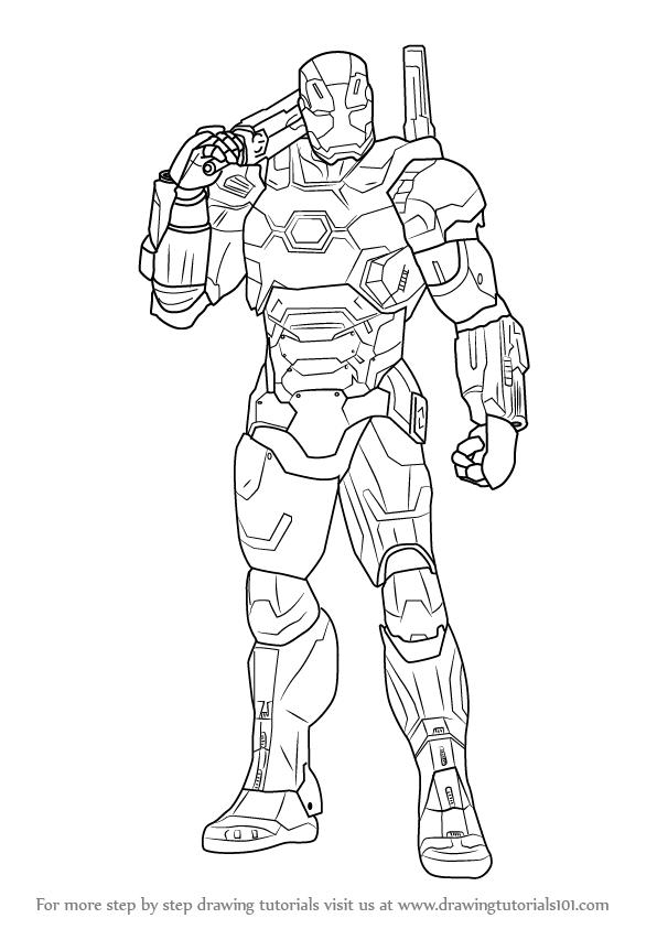 Learn How to Draw War Machine from Captain America Civil