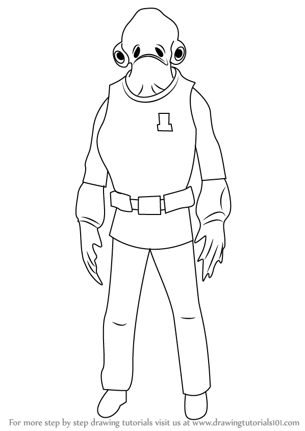 Step by Step How to Draw Admiral Ackbar from Star Wars
