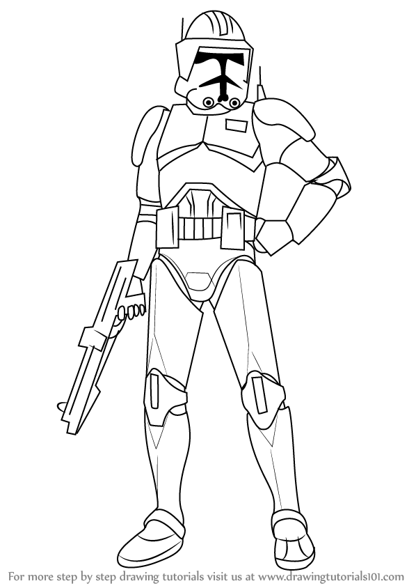 Step by Step How to Draw Cody from Star Wars
