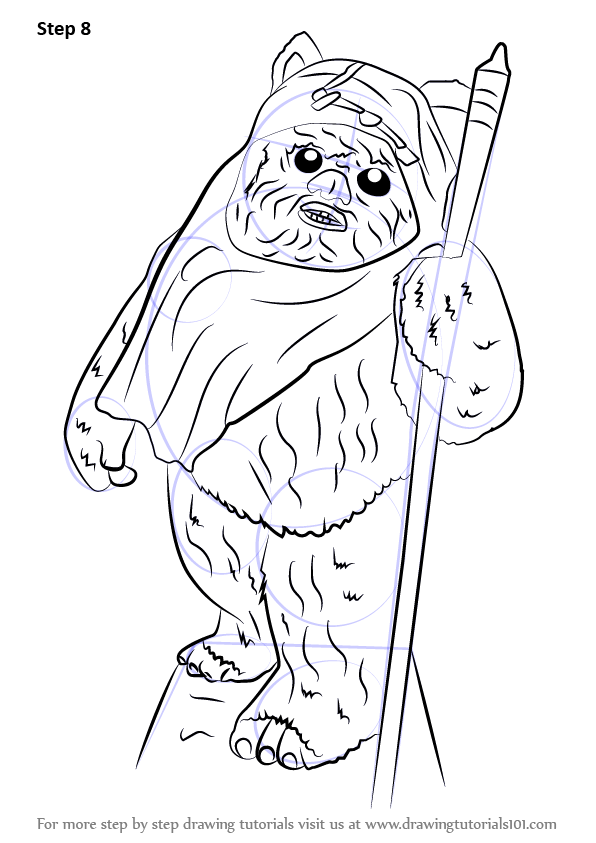 Learn How To Draw Ewok From Star Wars Star Wars Step By