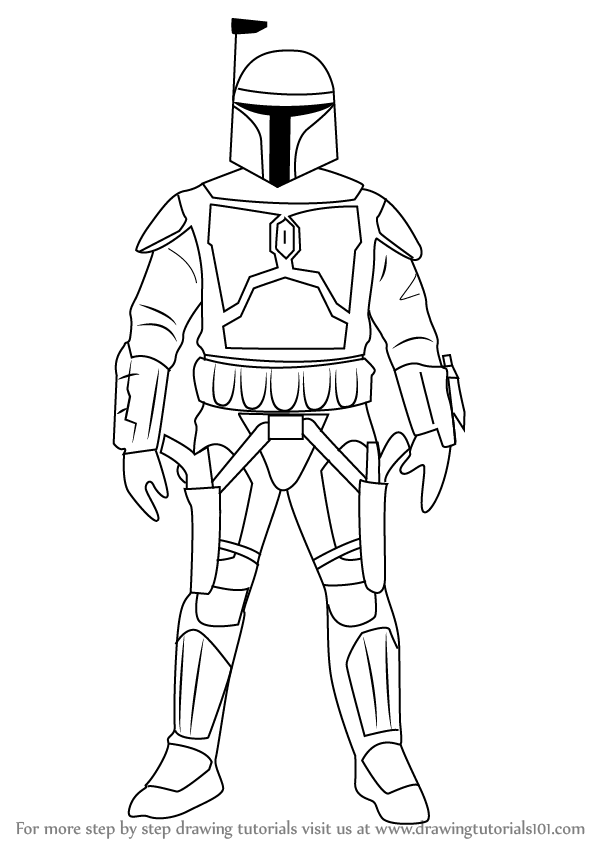 learn how to draw jango fett from star wars (star wars