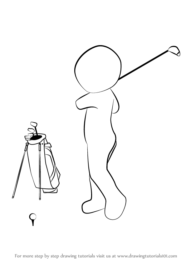 Learn How to Draw a Golfer (Golf) Step by Step : Drawing