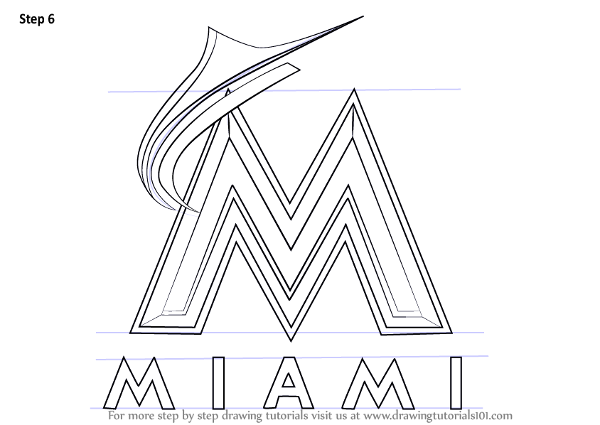 Learn How to Draw Miami Marlins Logo (MLB) Step by Step