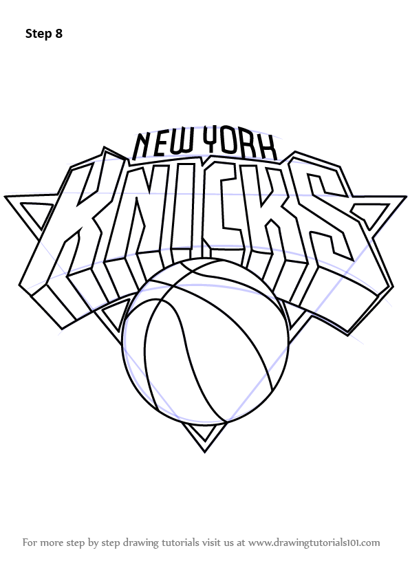 learn how to draw new york knicks logo (nba) stepstep