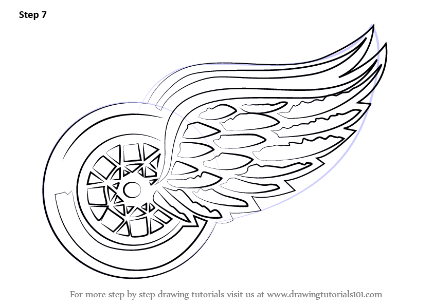 Step by Step How to Draw Detroit Red Wings Logo