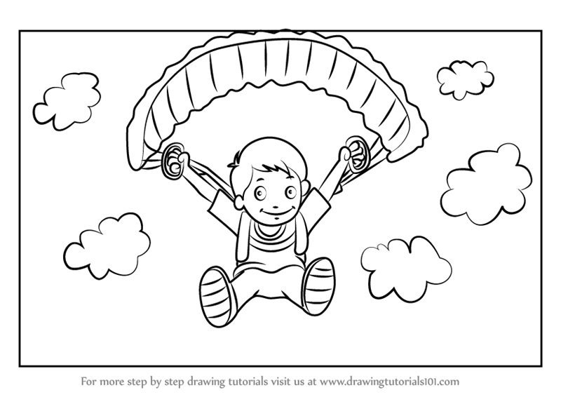 Learn How to Draw a Parachute Man (Other Sports) Step by