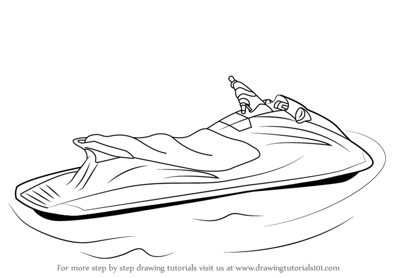Learn How to Draw a Jet Ski (Water Sports) Step by Step