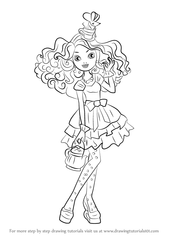 Step by Step How to Draw Madeline Hatter from Ever After