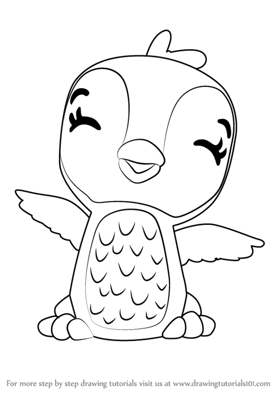 stepstep how to draw giggling penguala from hatchimals