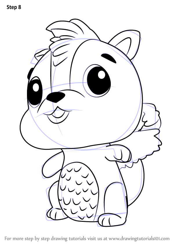 learn how to draw skunkle from hatchimals (hatchimals