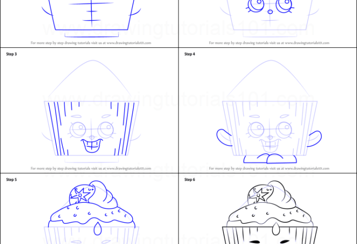 How To Draw Cupcake Chic From Shopkins Printable Step By Step