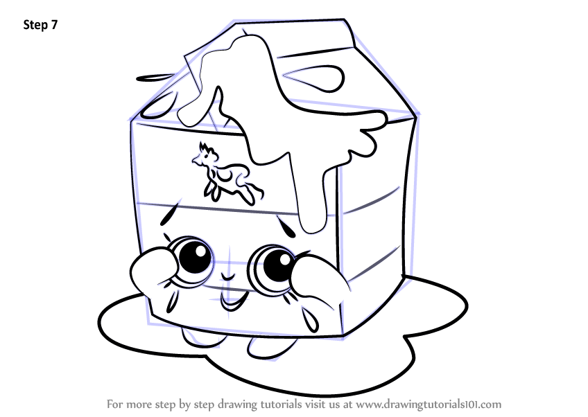 Learn How to Draw Spilt Milk from Shopkins (Shopkins) Step