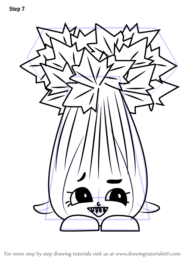 Learn How To Draw Super Celery From Shopkins Shopkins