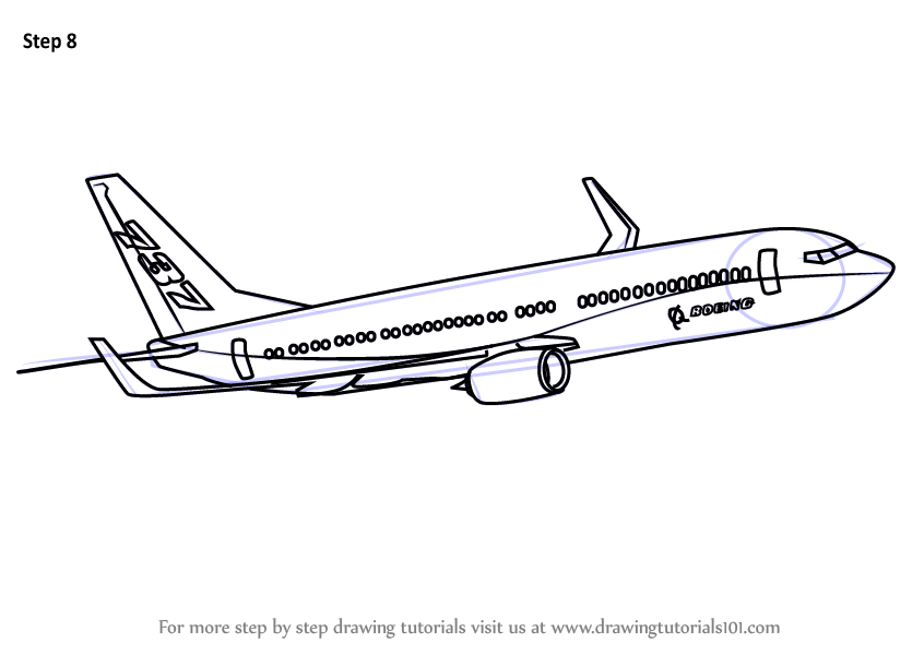 Learn How to Draw a Boeing 737 (Airplanes) Step by Step