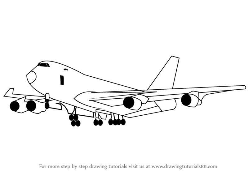 Learn How to Draw a Boeing 747 (Airplanes) Step by Step
