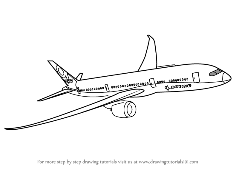 Learn How to Draw a Boeing 787 (Airplanes) Step by Step