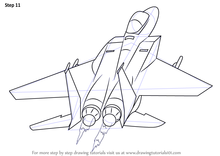 Learn How to Draw a Jet Plane (Airplanes) Step by Step