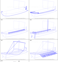step by step drawing tutorial on how to draw greek bireme war ship [ 751 x 1376 Pixel ]