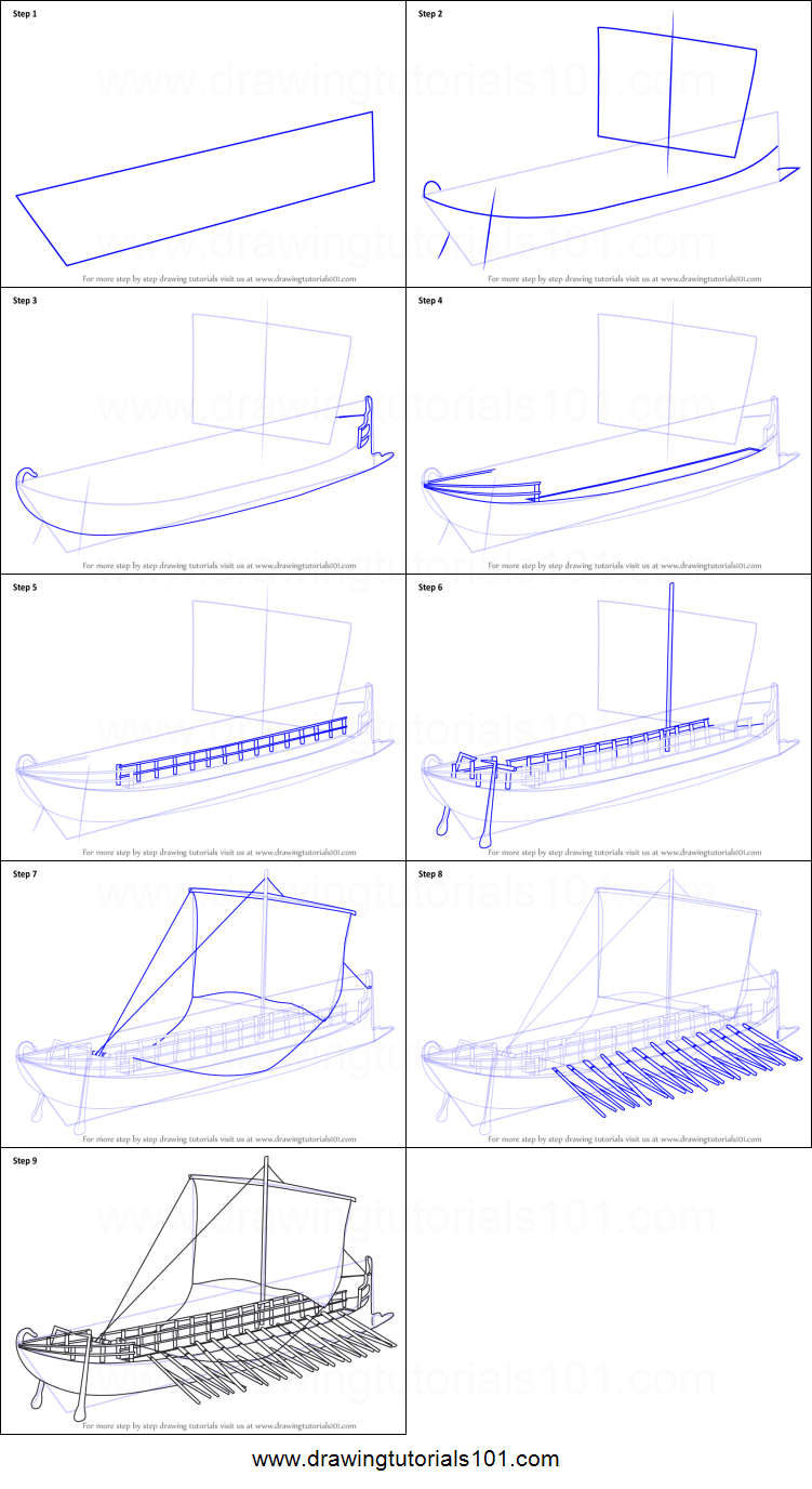 hight resolution of step by step drawing tutorial on how to draw greek bireme war ship