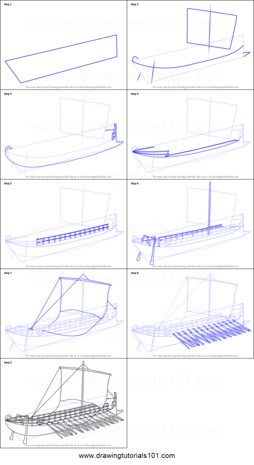 small resolution of step by step drawing tutorial on how to draw greek bireme war ship