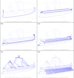 step by step drawing tutorial on how to draw greek trireme ship [ 751 x 1496 Pixel ]