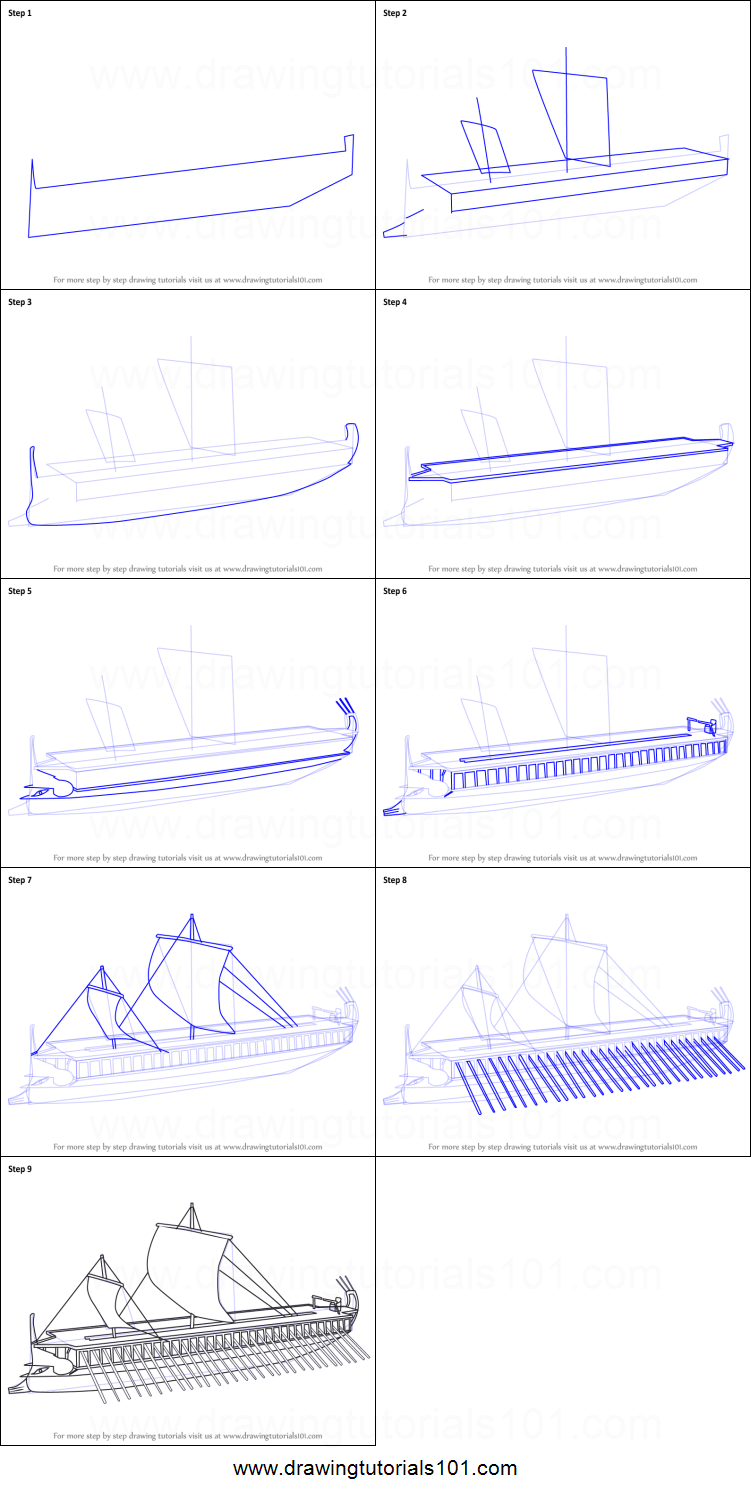 hight resolution of step by step drawing tutorial on how to draw greek trireme ship